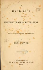 A hand-book of modern European literature