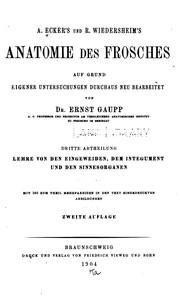 A. Eckers und R. Wiedersheims Anatomie des Frosches v. 1, 1896