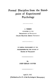 Formal discipline from the standpoint of experimental psychology.