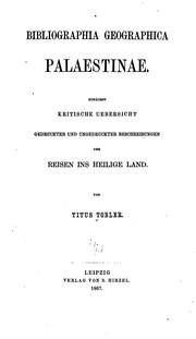 Bibliographia geographica Palaestinae.