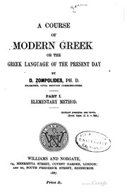 A Course of Modern Greek, Or the Greek Language of the Present Day