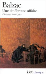 Cover of: Une Tenebreuse Affaire by Honoré de Balzac