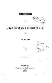 Forelæsninger over den norske retshistorie