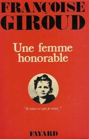 Une femme honorable by Franoise Giroud