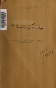 [Notes on Dr. Edmund J. James and a bibliography of his writings]