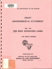 Draft environmental statement on the recreation management plan for Red Rock Canyon Recreation Lands, Las Vegas, Nevada