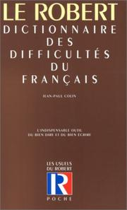 Dictionnaire des difficults du franais by Jean-Paul Colin
