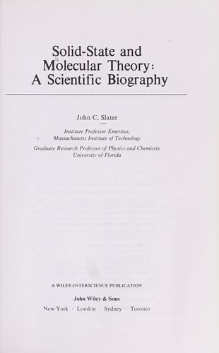 Image for Solid-State and Molecular Theory: A Scientific Biography