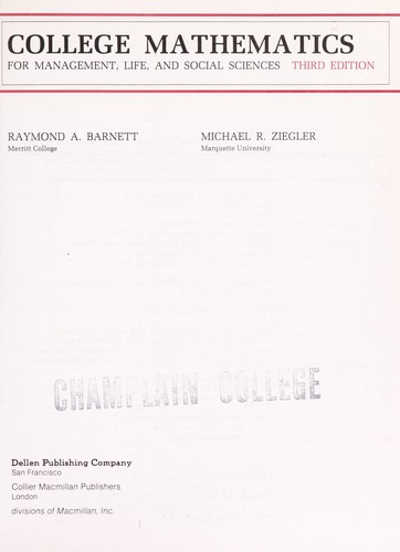 College Mathematics for Management Life and Social Sciences