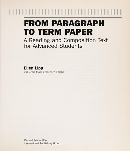From Paragraph to Term Paper