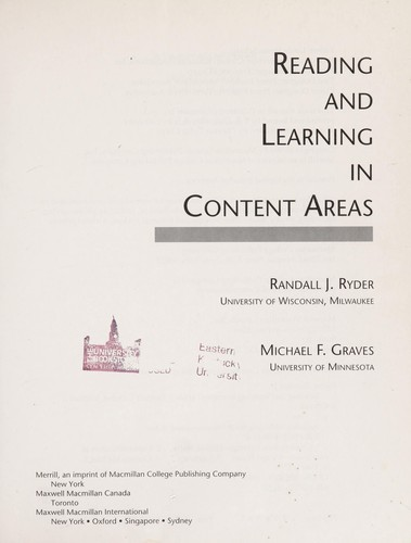Reading and Learning in Content Areas