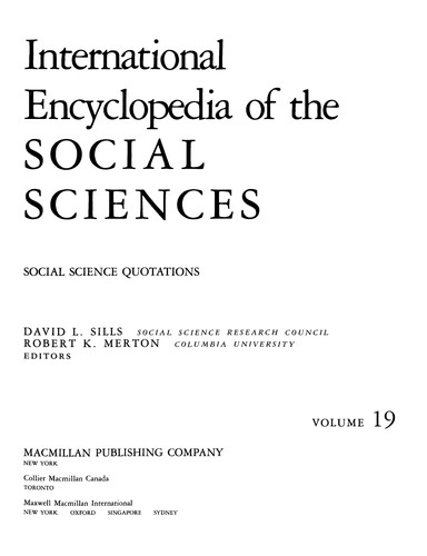 International Encyclopedia of the Social Sciences Biographical Supplement