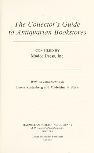 The Collector's Guide to Antiquarian Bookstores