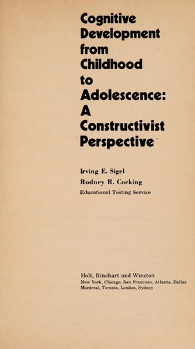 Cognitive Development from Childhood to Adolescence