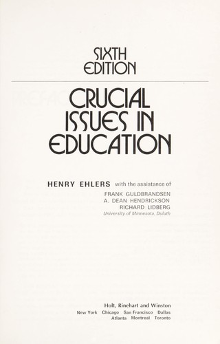 Crucial Issues in Education