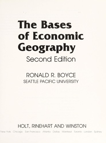 The Bases of Economic Geography