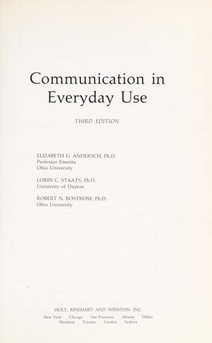 Communication in Everyday Use