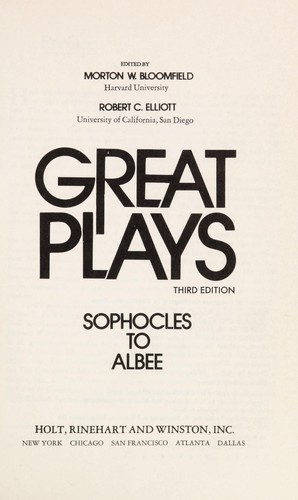 Great Plays, Sophocles to Albee