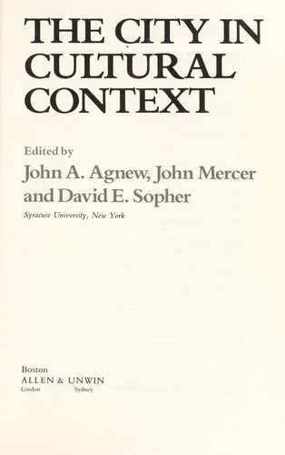 The City in Cultural Context