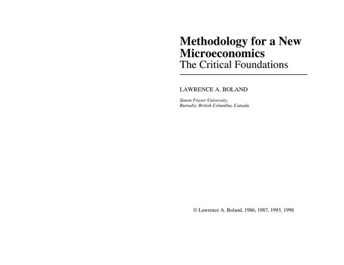 A Methodology for a New Microeconomics