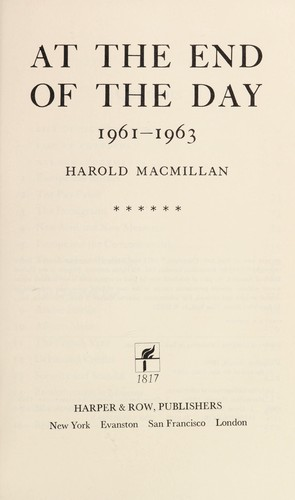 At the End of the Day, 1961-1963