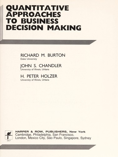 Quantitative Approaches to Business Decision Making