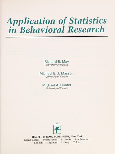 Application of Statistics in Behavioral Research