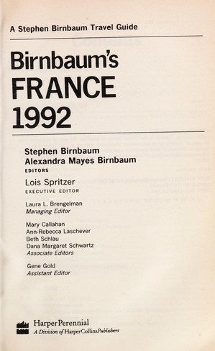 Birnbaum's France 1992