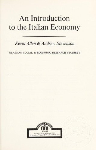 An Introduction to the Italian Economy