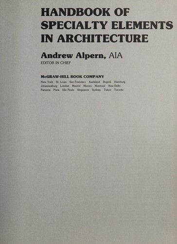 Handbook of Specialty Elements in Architecture