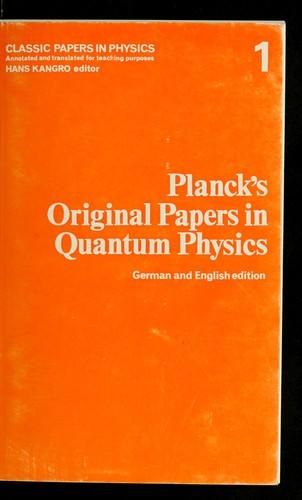 Original Papers in Quantum Physics