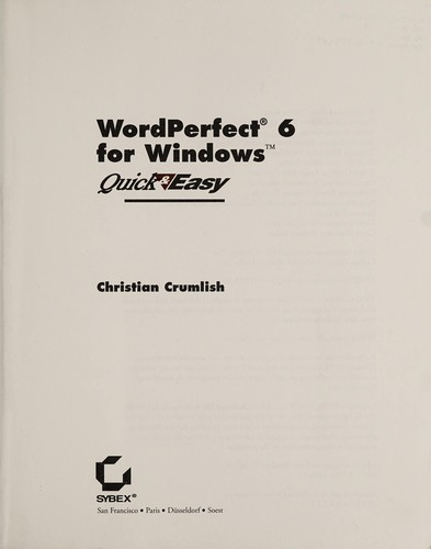 WordPerfect 6 for Windows, Quick and Easy