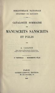 Catalogue sommaire des manuscrits sanscrits et plis