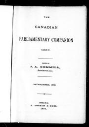 Cover of: The Canadian parliamentary companion, 1883