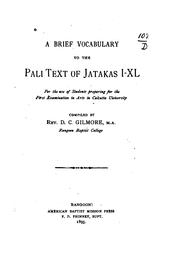A brief vocabulary to the Pali text of Jatakas I-XL