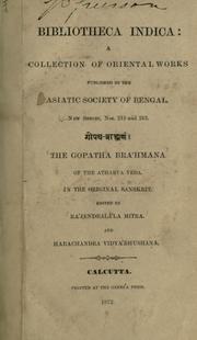 The Gopatha Brahmana of the Atharva Veda