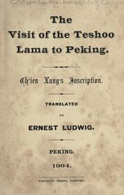 The visit of the Teshoo lama to Peking