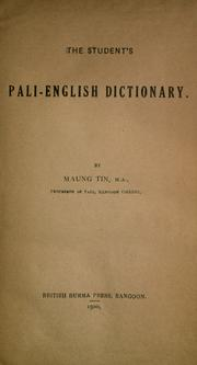 The student's Pali-English dictionary