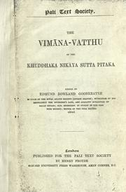 The Vimana-Vatthu of the Khuddhaka nikaya Sutta pitaka