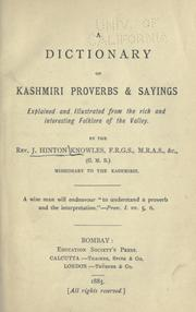 A dictionary of Kashmiri proverbs & sayings