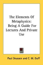 The Elements Of Metaphysics: being a guide for lectures and private use