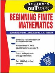 Cover of: Schaum's Outline of Beginning Finite Mathematics (Schaum's Outline) by Seymour Lipschutz
