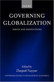 Cover of: Governing Globalization by Deepak Nayyar