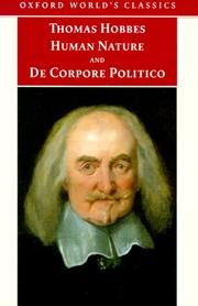 Cover of: Human nature by Thomas Hobbes