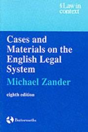 Cover of: Cases and materials on the English legal system by Michael Zander