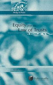 Cover of: Equity and the law of trusts by Philip Henry Pettit