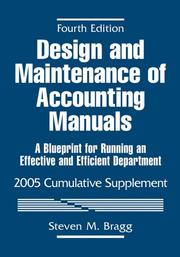 Cover of: Design and Maintenance of Accounting Manuals, 2005 Cumulative Supplement by Steven M. Bragg