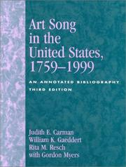 Art-Song in the United States, 1759-1976: An Annotated Bibliography