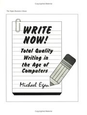 Cover of: Write now! by Egan, Michael