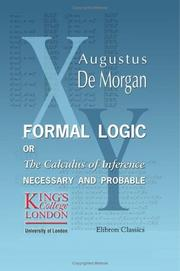 Cover of: Formal logic by Augustus De Morgan